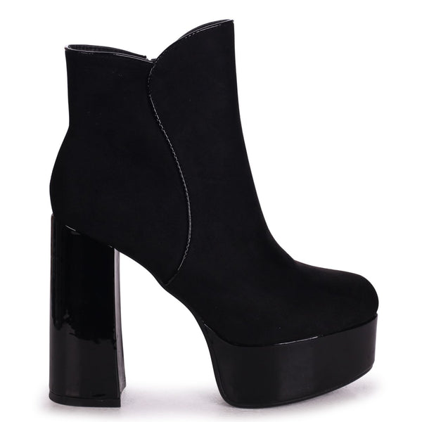 ISSY - Black Patent & Suede Extreme Platform Block Heeled Ankle Boots