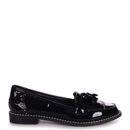 JOANIE - Black Patent Slip On Loafer With Tassel and Studded Detail