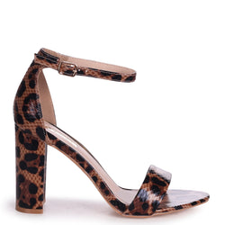 NELLY - Mocha Leopard Faux Leather Single Sole Block Heel