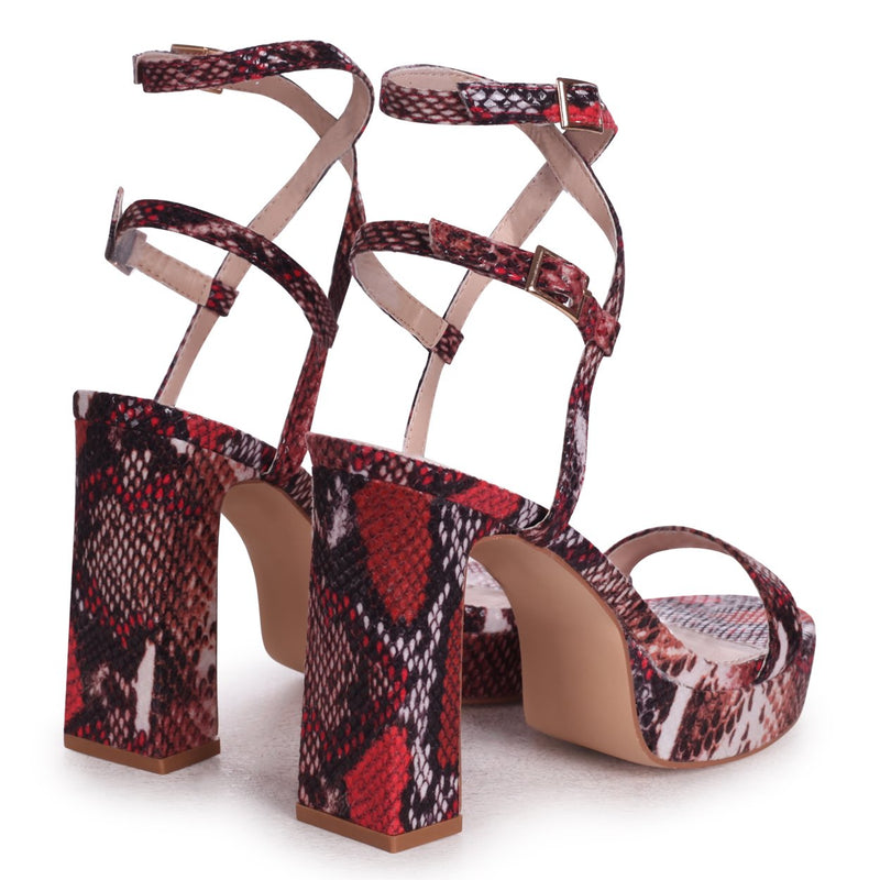 CHLOE - Red Snake Mix Platform Heels With Double Crossover Ankle Straps