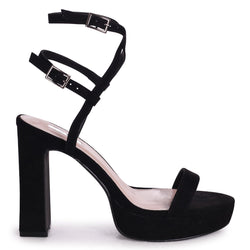 CHLOE - Black Suede Platform Heels With Double Crossover Ankle Straps