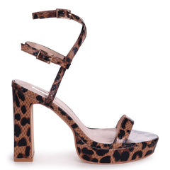 CHLOE - Brown Leopard Platform Heels With Double Crossover Ankle Straps