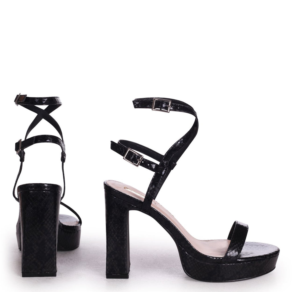 CHLOE - Black Snake Platform Heels With Double Crossover Ankle Straps