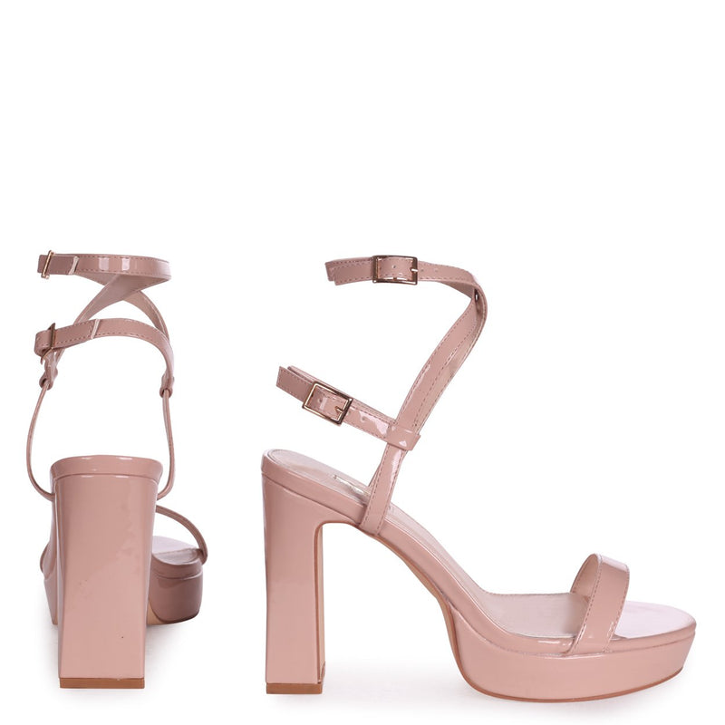 CHLOE - Nude Patent Platform Heels With Double Crossover Ankle Straps