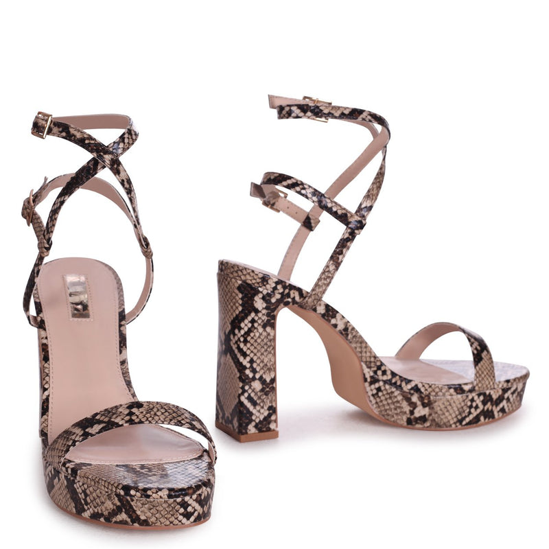 CHLOE - Beige Snake Print Platform Heels With Double Crossover Ankle Straps