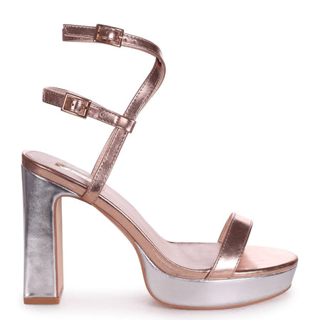 ELLEN - Gold Cracked Metallic Closed Back Barely There Platform Block Heel