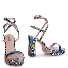 CHLOE - Multicoloured Snake Platform Heels With Double Crossover Ankle Straps