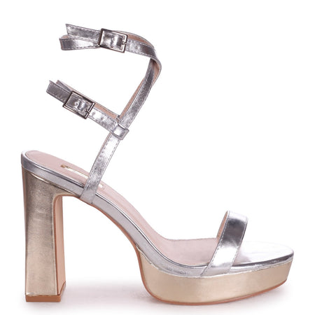 FAYE - Gold Metallic Platform With Scallop Front Strap & Gold Buckle