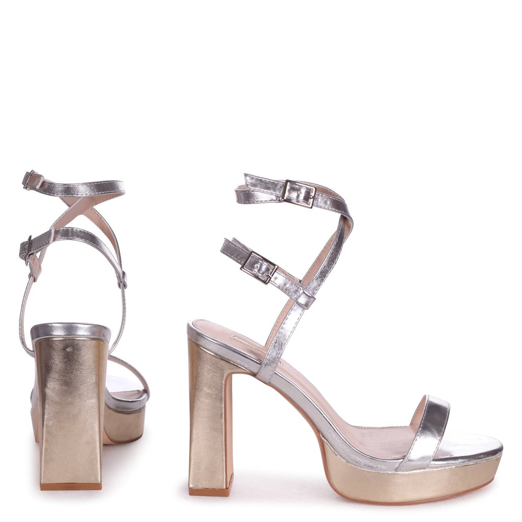 CHLOE - Silver & Gold Metallic Platform Heels With Double Crossover Ankle Straps