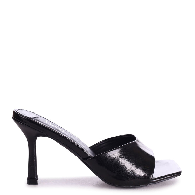 PENELOPE - Black Nappa Slip On Square Toe Mule