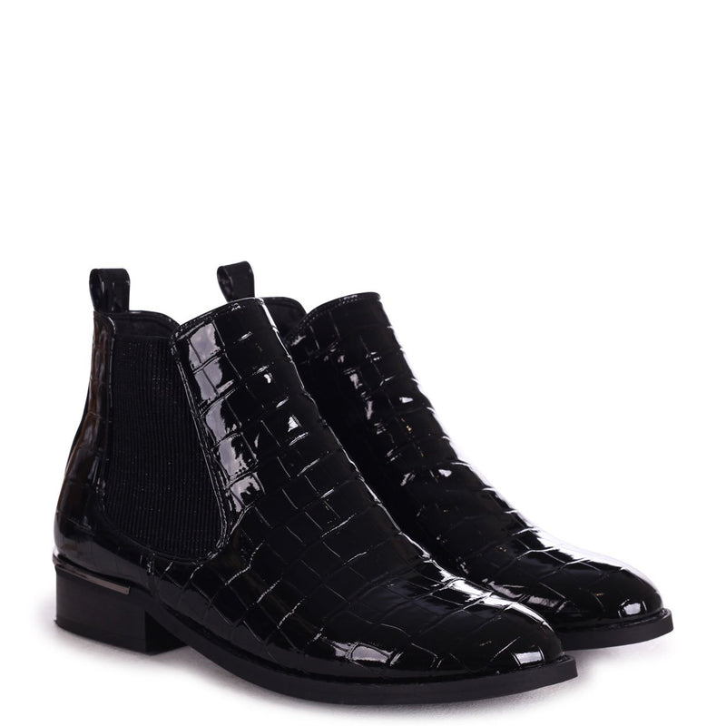ARYA - Black Croc Patent Chelsea Boot With Pewter Heel Trim