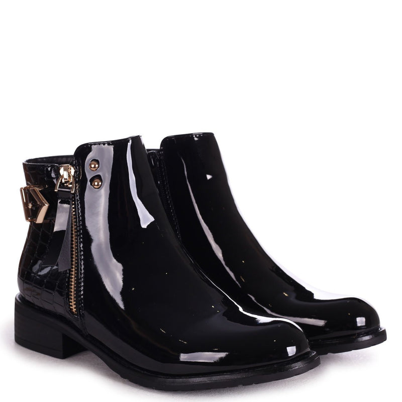 DUAL - Black Patent & Croc Ankle Boot With Gold Detailing