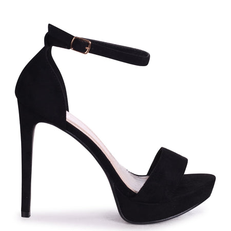 SINDY - Black Suede Extreme Platform Barely There Heel