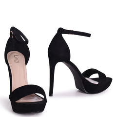 SOPHIA - Black Suede Barely There Stiletto Platform Heels