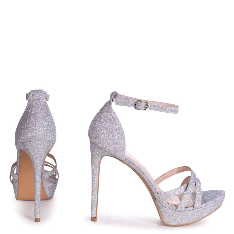 AMELIA - Silver GlitterStiletto Platform With Multiple Front Straps