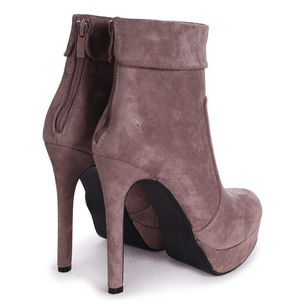 FAITH - Mocha Suede Platform Boot With Stiletto Heel And Ankle Cuff Detail