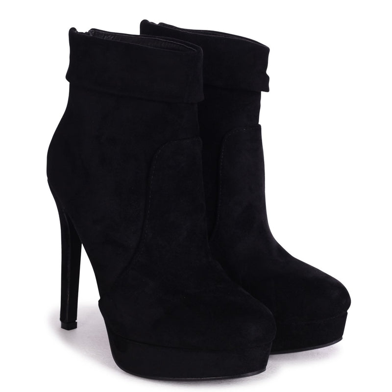 FAITH - Black Suede Platform Boot With Stiletto Heel And Ankle Cuff Detail