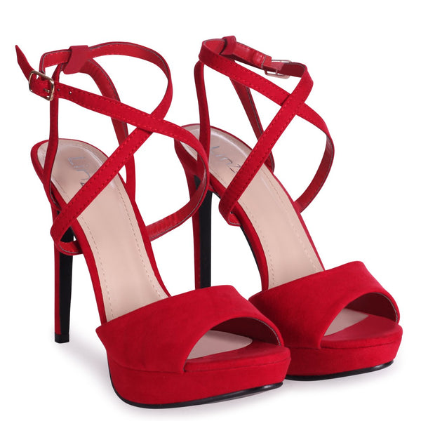 FREYA - Red Suede Stiletto Open Back Platform With Crossover Front Straps