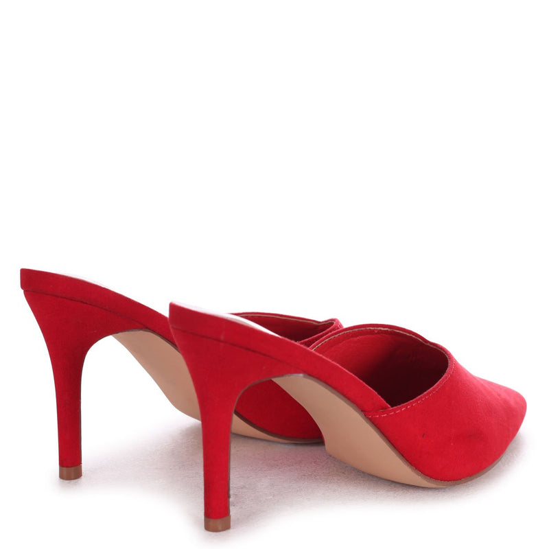 LANA - Red Suede V Cut Closed Toe Mule