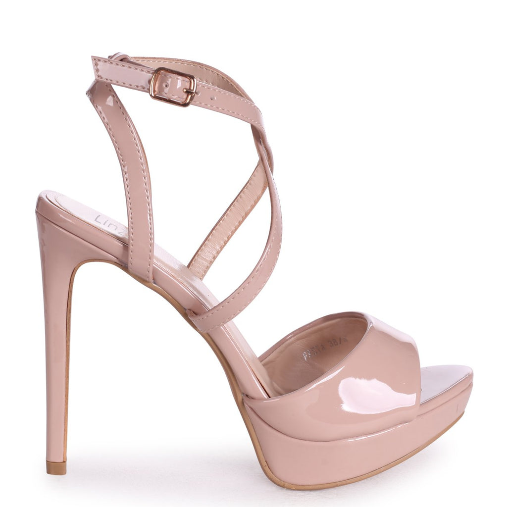 FREYA - Nude Patent Stiletto Open Back Platform With Crossover Front Straps