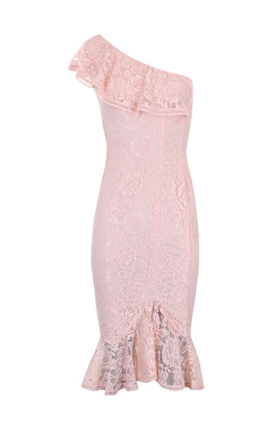 Blush Lace One Shoulder Frill Detail Midi Dress