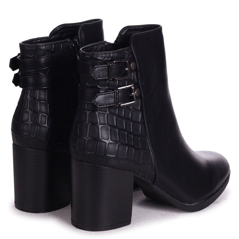 JENI - Black Nappa & Croc Stacked Block Heeled Ankle Boot With Buckle Detail