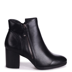 HALLIE - Black Nappa Stacked Block Heeled Ankle Boot With Outer Zip Detail