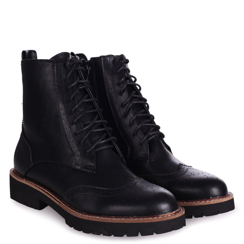 JESS - Black Nappa Brogue Style Lace Up Military Boot