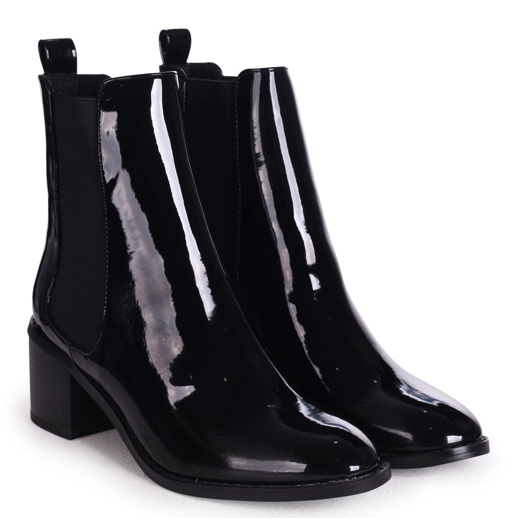 KAY - Black Patent Pull On Chelsea Boot With Stacked Block Heel