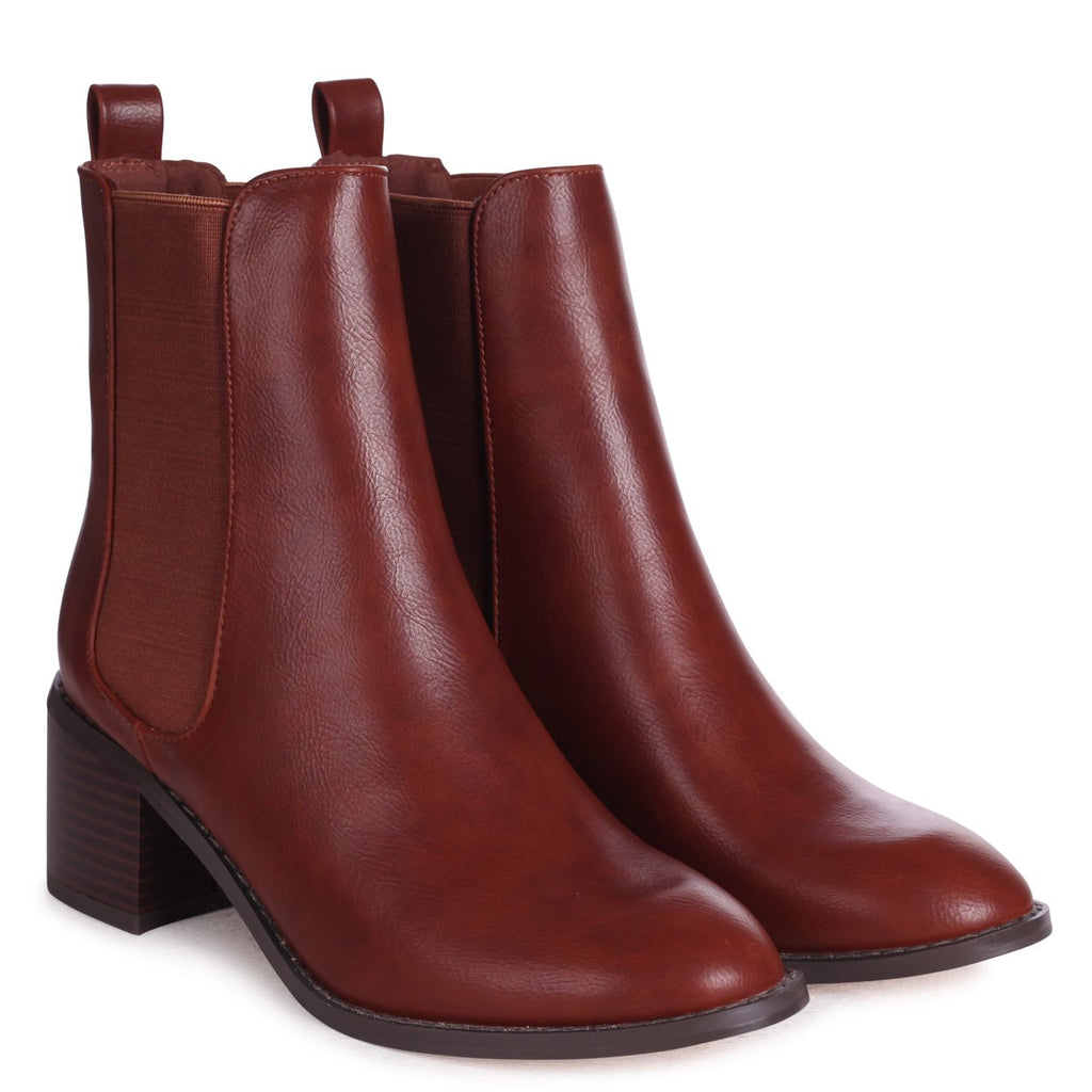 KAY - Tan Nappa Pull On Chelsea Boot With Stacked Block Heel