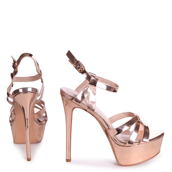 ELLA - Rose Gold Chrome Heavy Stiletto Platform With Gathered Front Straps