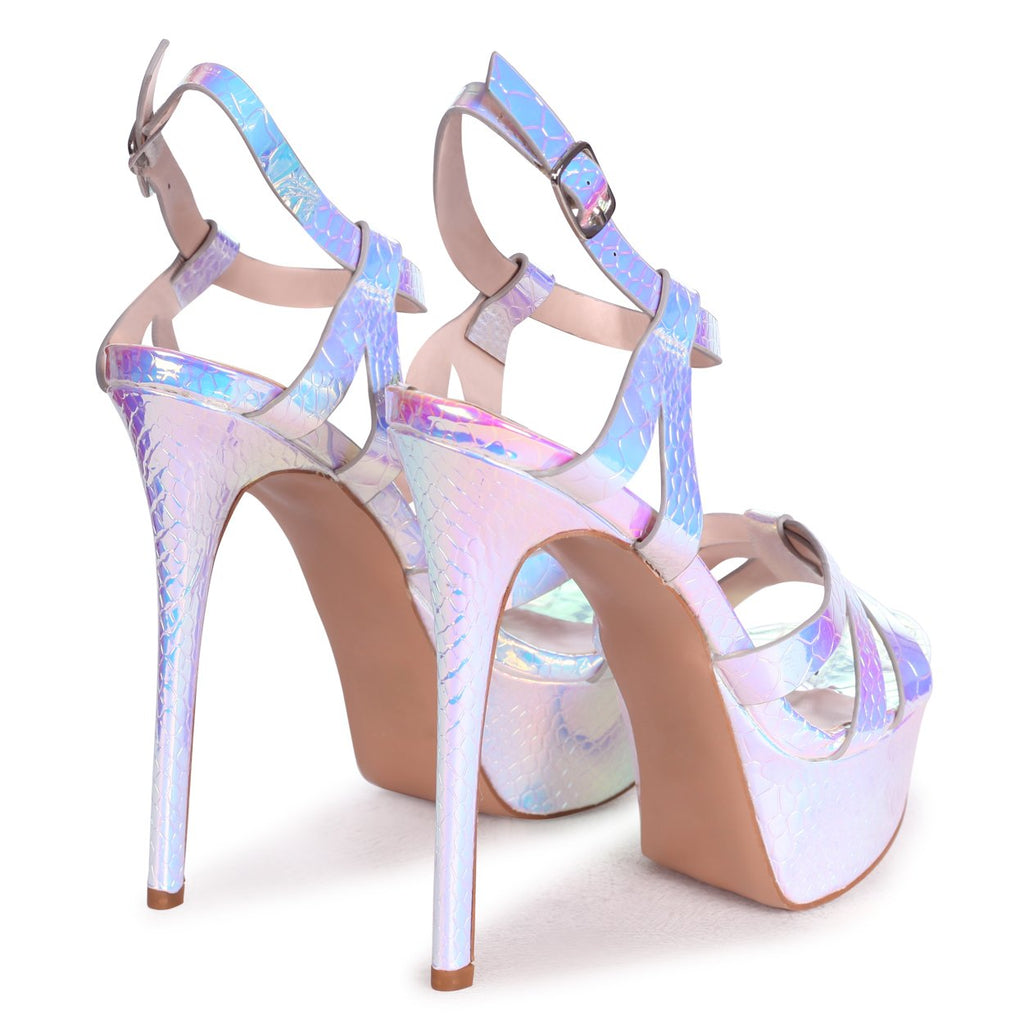 ELLA - Silver Mermaid Heavy Stiletto Platform With Gathered Front Straps