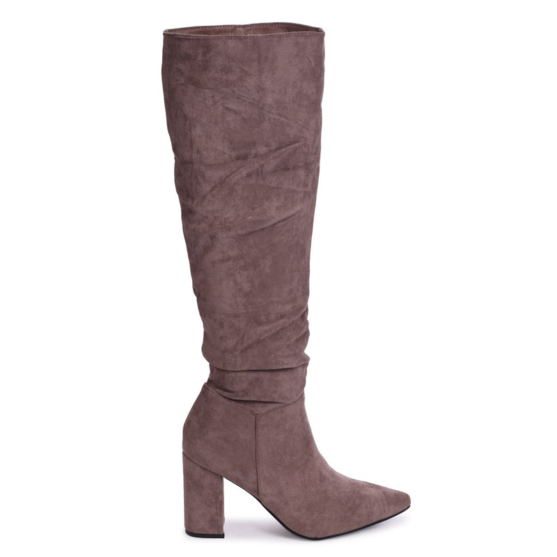 BONNIE - Mocha Suede Block Heel Knee High Ruched Boot With Pointed Toe