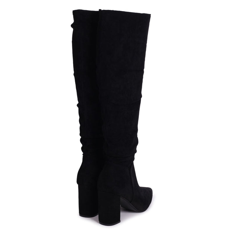 BONNIE - Black Suede Block Heel Knee High Ruched Boot With Pointed Toe