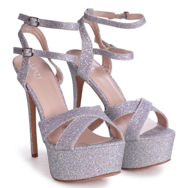 MIA - Silver Glitter Heavy Stiletto Platform With Double Ankle Strap & Crossover Front Strap