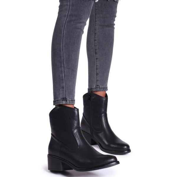 SHOTGUN - Black Nappa Cowboy Style Ankle Boot