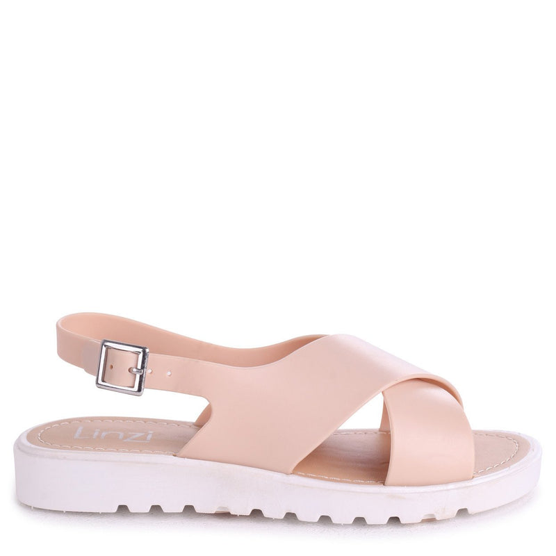 BESS - Nude Cross Over Jelly Sliders