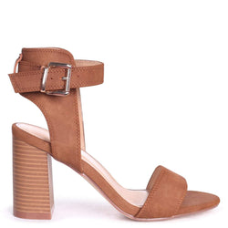 KERRY - Tan Suede Open Toe Stacked Block Heel With Ankle Strap