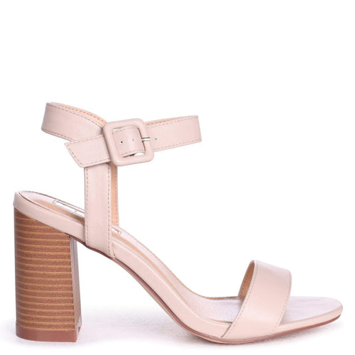 61af89b6544 KATE - Beige Nappa Open Toe Stacked Block Heel With Ankle Strap
