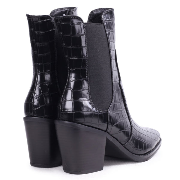 MINDY - Black Croc Square Toe Cowboy Boot With Snake Back