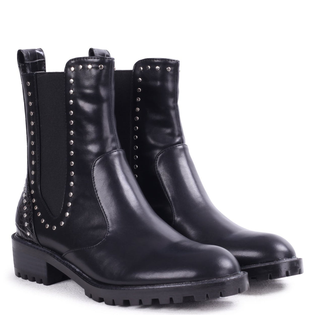 RAIYA - Black Nappa And Croc Chelsea Boot With Studded Detail
