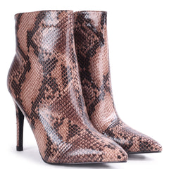 JASMIN - Brown Snake Print Pointed Stiletto Boot Heel