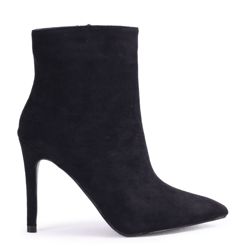 JASMIN - Black Suede Pointed Stiletto Boot Heel