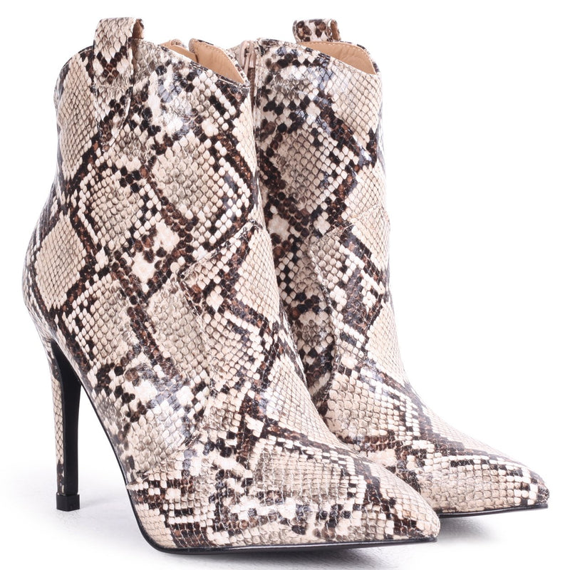 SHANIA - Beige Snake Print Cowboy Inspired Pointed Stiletto Boot Heel