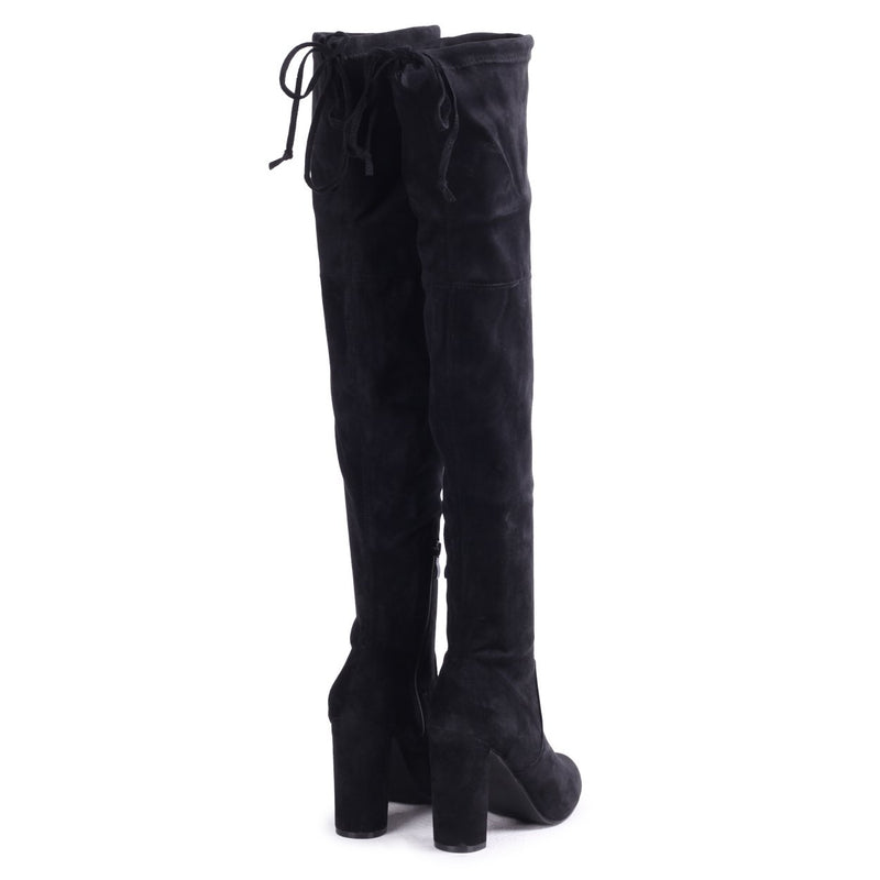 RACHEL - Black Suede Stretch Over The Knee Block Heeled Boot