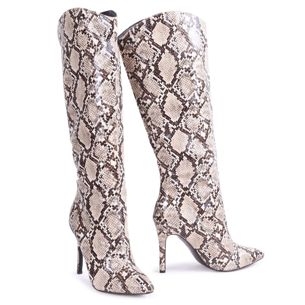 CONNIE - Beige Snake Cowboy Style Stiletto Long Boot