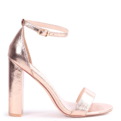 AMY - Rose Gold Cracked Nappa Open Toe Barely There Block Heel