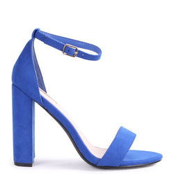 AMY - Blue Suede Open Toe Barely There Block Heel