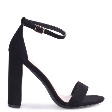 DOVE - Black Suede Court Heel With Diamante Front & Ankle Strap