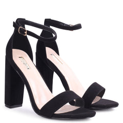 AMY - Black Suede Open Toe Barely There Block Heel